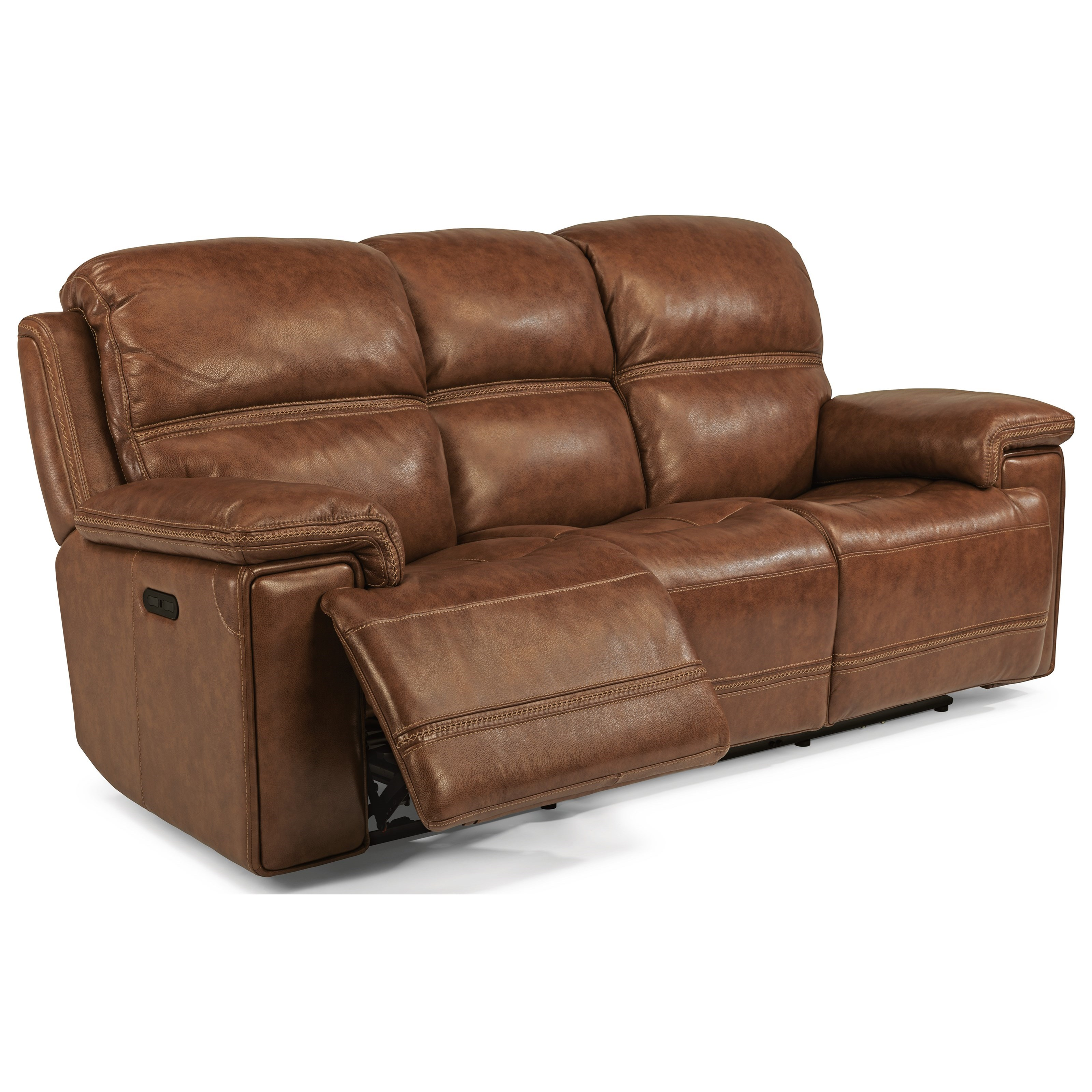Latitudes-Fenwick Pwr Reclining Leather Sofa w/ Pwr Headrest by Flexsteel at Walker's Furniture
