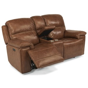 Power Reclining Loveseat with Power Tilt Headrest and Cupholder Console
