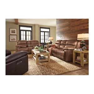 Power Reclining Sofa and Power Reclining Loveseat with Console Set
