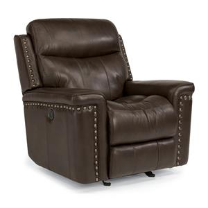 Leather Match Power Glider Recliner with Nail Head Trim