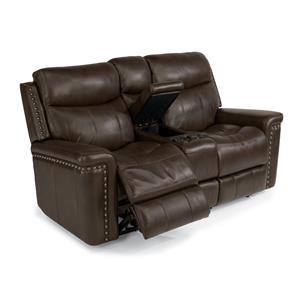 Power Reclining Love Seat with Console and Nail Head Trim