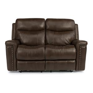 Power Reclining Love Seat with Nail Head Trim