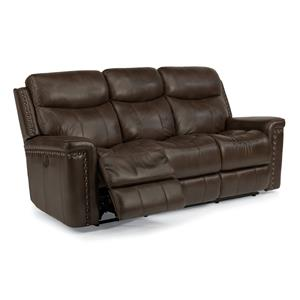 Power Reclining Sofa with Nail Head Trim