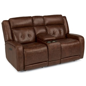 Flexsteel Latitudes-Jude Power Reclining Love Seat with Console
