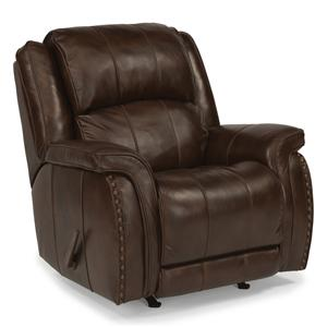 Casual Rocking Recliner with Pillow Arms and Oversized Rustic Nailheads