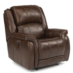 Casual Power Recliner with Pillow Arms and Oversized Rustic Nailheads