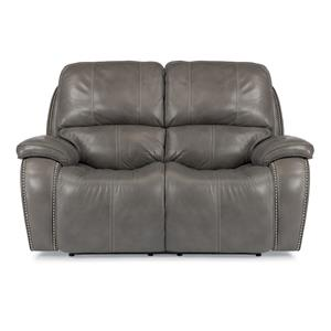 Power Reclining Loveseat with Nailheads and USB Charging Ports