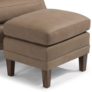 Contemporary Leather Ottoman with Tall, Tapered Legs