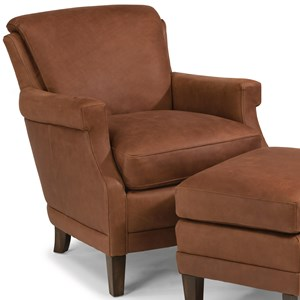 Contemporary Leather Chair with Tall, Tapered Legs