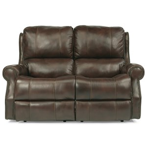 Traditional Power Reclining Loveseat with Rolled Arms and Nailheads