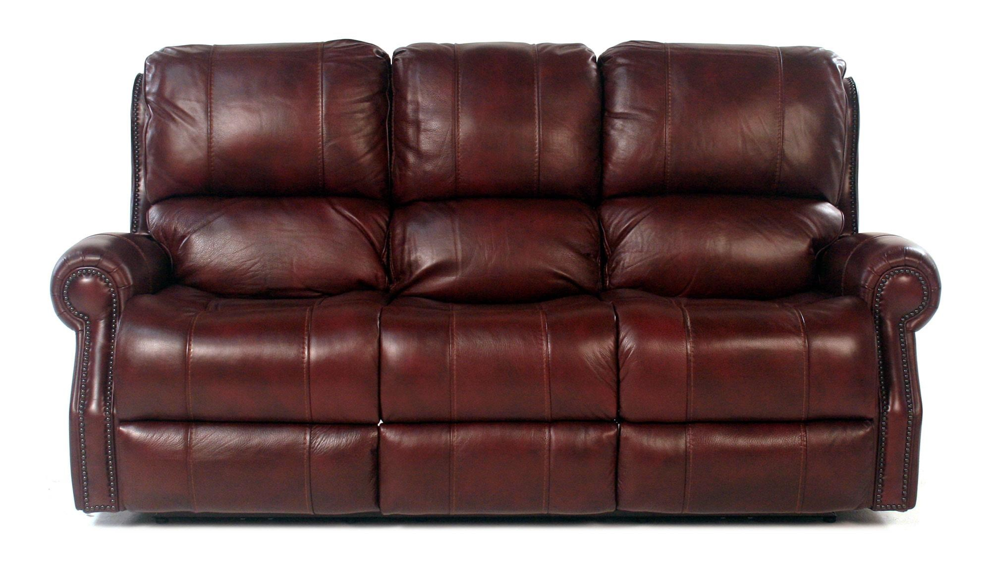 Traditional Power Reclining Sofa with Rolled Arms and Nailheads