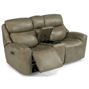 Power Reclining Loveseat with Cupholder Console and Adjustable Headrests