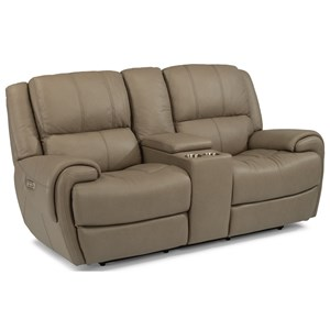 Casual Power Reclining Loveseat with Console and Power Headrests