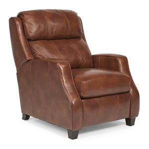Transitional Leather Recliner with Sloped Track Arms