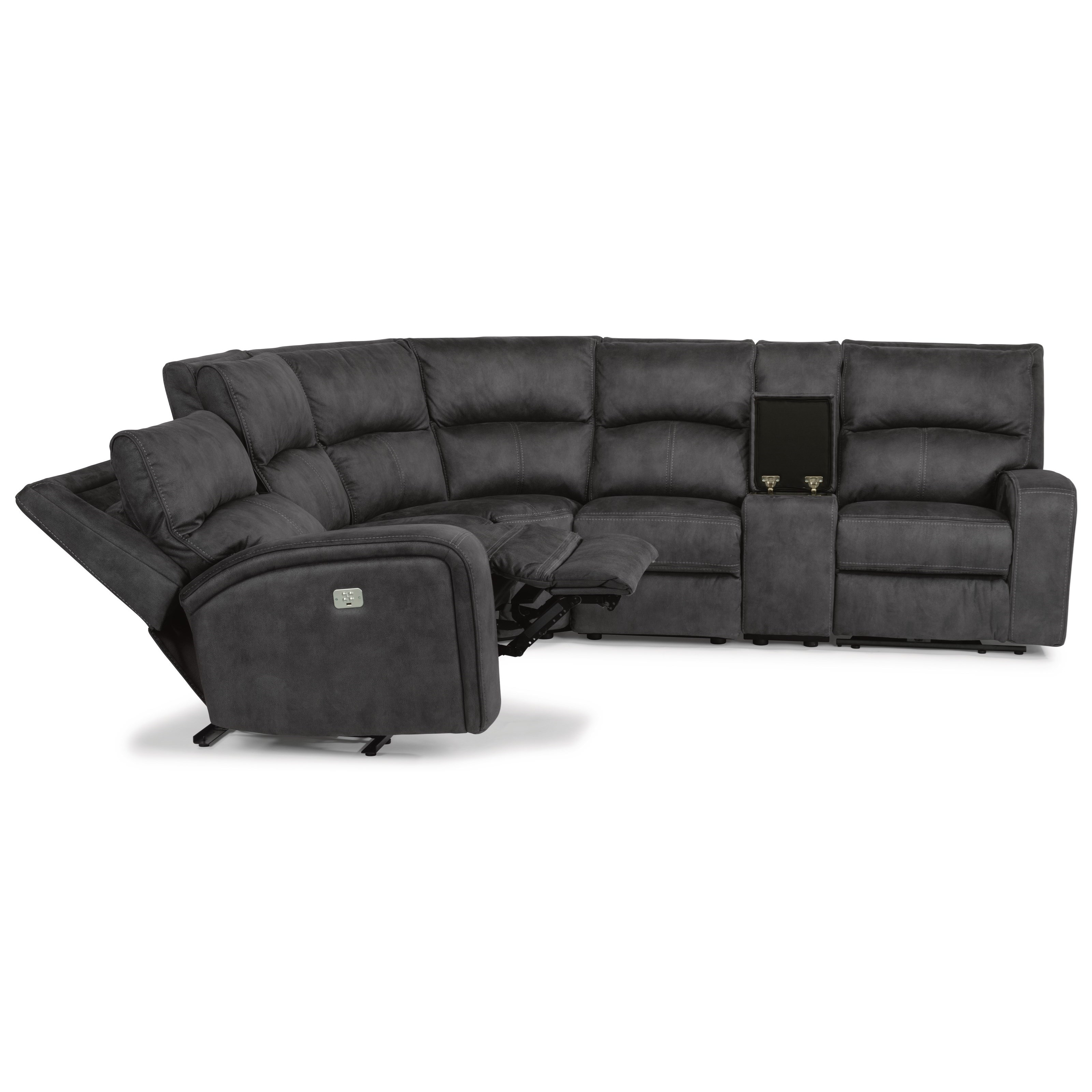 Latitudes - Nirvana Power Reclining L-Shaped Sectional by Flexsteel at Walker's Furniture