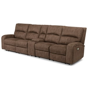 Contemporary Power Reclining Long Sectional with Power Headrests, Console & USB Ports