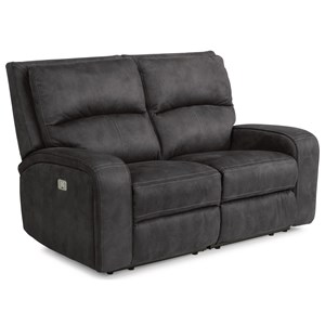 Contemporary Power Reclining Loveseat with Power Headrests and USB Ports