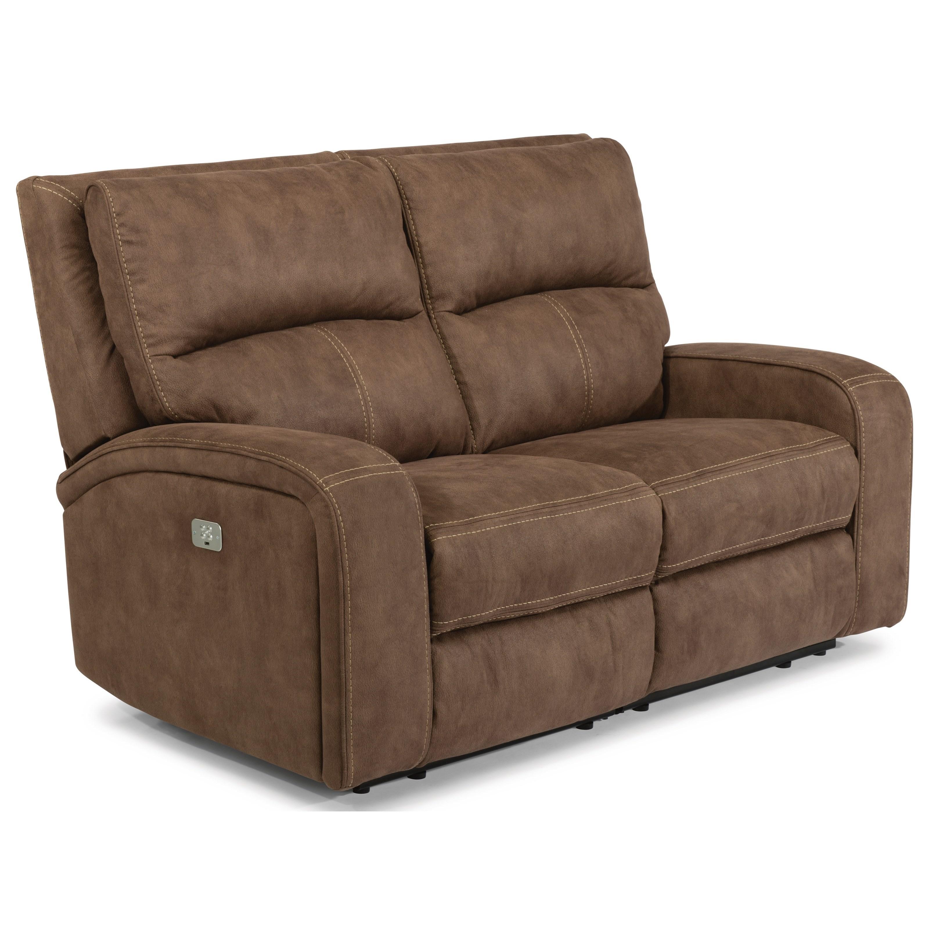 Latitudes - Nirvana Power Reclining Loveseat with Power Headrest by Flexsteel at Walker's Furniture