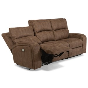 Contemporary Power Reclining Sofa with Power Headrests and USB Ports