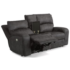 Contemporary Power Reclining Loveseat with Console, Cupholders and Power Headrests