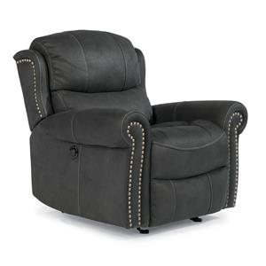 Cozy Glider Recliner with Nail Head Trim