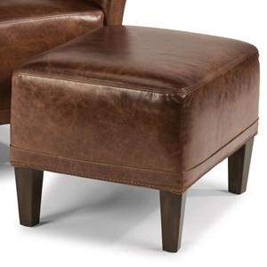 Contemporary Leather Ottoman with Tapered Legs