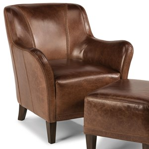 Contemporary Leather Chair with Tapered Legs