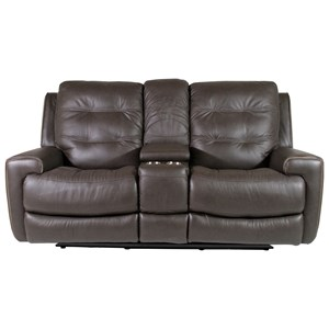 Power Reclining Lay-Flat Loveseat with Storage Console and Power Tilt Headrest