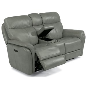 Power Reclining Love Seat with Power Headrest and Console