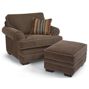 Upholstered Chair & Rectangular Ottoman
