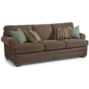 Sofa with Rolled Arms and Tapered Wood Feet