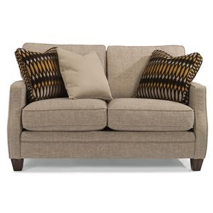 Transitional Loveseat with Scalloped Arms