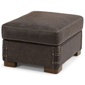 Rustic Leather Ottoman with Exposed Wood Feet