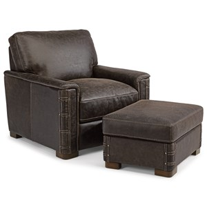 Rustic Leather Chair and Ottoman Set