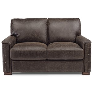 Rustic Leather Loveseat with Nailhead Details
