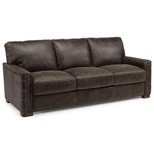 Rustic Leather Sofa with Nailhead Details