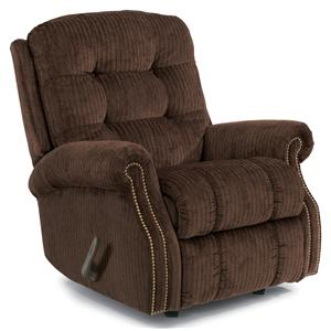 Casual Button Tufted Rocking Recliner (with Nailheads)