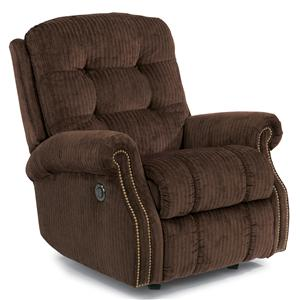 Casual Button Tufted Power Rocking Recliner (with Nailheads)