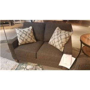 Stationary Love Seat with Reversible Seat Cushions and Welt Cord Accent