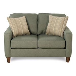 Stationary Love Seat w/ Track Arms & Revolution Fabric