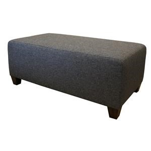 Transitional Cocktail Ottoman with Tapered Wood Legs