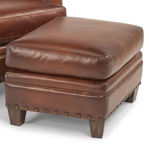 Rustic Leather Ottoman with Nailhead Trim