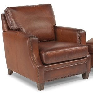 Rustic Leather Chair with Nailhead Trim