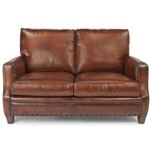 Rustic Leather Love Seat with Nailhead Trim