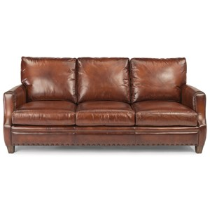 Rustic Leather Sofa with Nailhead Trim