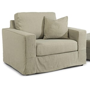 Casual Contemporary Slipcovered Chair with Track Arms