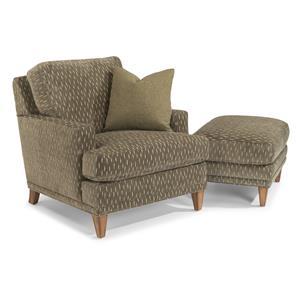 Flexsteel Ocean Chair & Ottoman Set (No Nails)