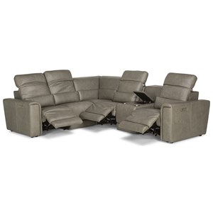 Casual 6 Piece Power Reclining Sectional with Built-In Speakers