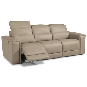 Casual Reclining Sofa with Power Headrests