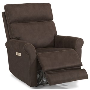 Contemporary Power Recliner with Power Headrest and Lumbar